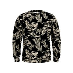Floral Pattern Black Kids  Sweatshirt
