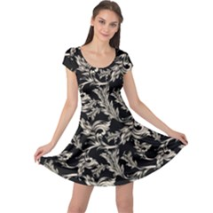 Floral Pattern Black Cap Sleeve Dress