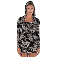Floral Pattern Black Long Sleeve Hooded T Shirt