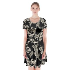 Floral Pattern Black Short Sleeve V Neck Flare Dress