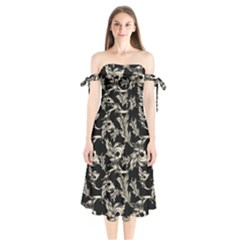Floral Pattern Black Shoulder Tie Bardot Midi Dress