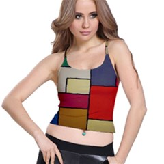 Color Block Art Painting Spaghetti Strap Bra Top