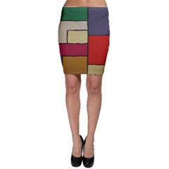 Color Block Art Painting Bodycon Skirt