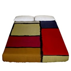 Color Block Art Painting Fitted Sheet (queen Size)