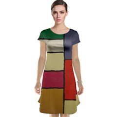 Color Block Art Painting Cap Sleeve Nightdress