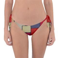 Color Block Art Painting Reversible Bikini Bottom