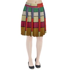 Color Block Art Painting Pleated Skirt
