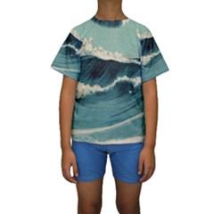 Waves Painting Kids  Short Sleeve Swimwear