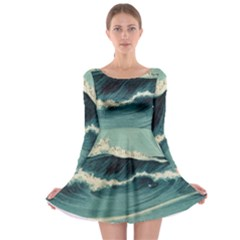 Waves Painting Long Sleeve Skater Dress
