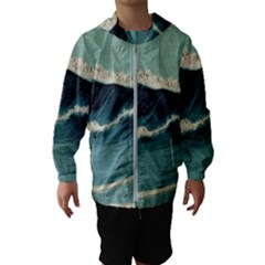Waves Painting Hooded Wind Breaker (kids)