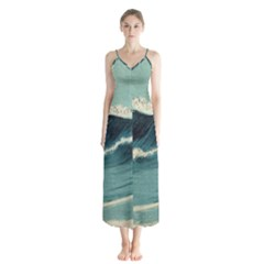 Waves Painting Button Up Chiffon Maxi Dress
