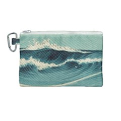 Waves Painting Canvas Cosmetic Bag (medium) by goodart