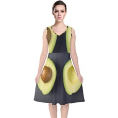 Fruit Avocado V Neck Midi Sleeveless Dress