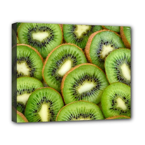 Sliced And Open Kiwi Fruit Deluxe Canvas 20  X 16   by goodart