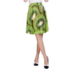 Sliced And Open Kiwi Fruit A Line Skirt by goodart