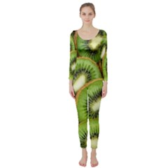 Sliced And Open Kiwi Fruit Long Sleeve Catsuit
