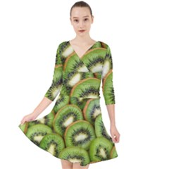 Sliced And Open Kiwi Fruit Quarter Sleeve Front Wrap Dress