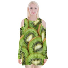 Sliced And Open Kiwi Fruit Velvet Long Sleeve Shoulder Cutout Dress