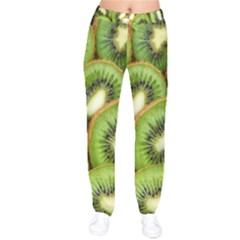 Sliced And Open Kiwi Fruit Velvet Drawstring Pants by goodart