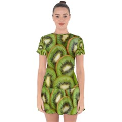 Sliced And Open Kiwi Fruit Drop Hem Mini Chiffon Dress