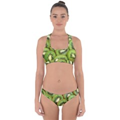 Sliced And Open Kiwi Fruit Cross Back Hipster Bikini Set by goodart
