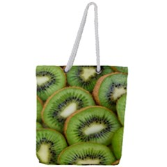 Sliced And Open Kiwi Fruit Full Print Rope Handle Tote (large) by goodart