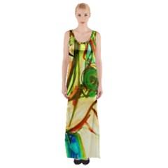 Girl In A Blue Tank Top Maxi Thigh Split Dress