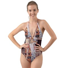 The Three Ages Of Woman  Gustav Klimt Halter Cut Out One Piece Swimsuit