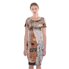 The Three Ages Of Woman  Gustav Klimt Classic Short Sleeve Midi Dress