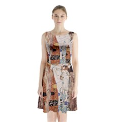 The Three Ages Of Woman  Gustav Klimt Sleeveless Waist Tie Chiffon Dress