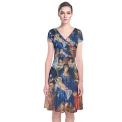 Feast Of The Rosary   Albrecht D¨1rer Short Sleeve Front Wrap Dress