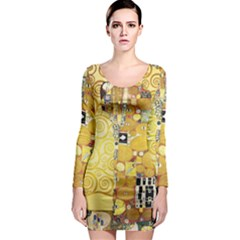 The Embrace   Gustav Klimt Long Sleeve Bodycon Dress