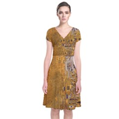 Adele Bloch Bauer I   Gustav Klimt Short Sleeve Front Wrap Dress