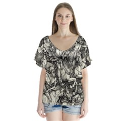 Four Horsemen Of The Apocalypse   Albrecht D¨1rer V Neck Flutter Sleeve Top