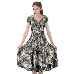 Four Horsemen Of The Apocalypse   Albrecht D¨1rer Cap Sleeve Wrap Front Dress