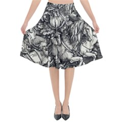 Four Horsemen Of The Apocalypse   Albrecht D¨1rer Flared Midi Skirt