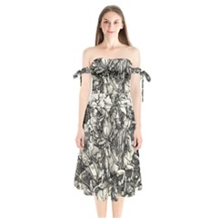 Four Horsemen Of The Apocalypse   Albrecht D¨1rer Shoulder Tie Bardot Midi Dress