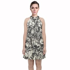 Four Horsemen Of The Apocalypse   Albrecht D¨1rer Velvet Halter Neckline Dress