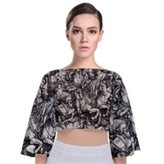 Four Horsemen Of The Apocalypse   Albrecht D¨1rer Tie Back Butterfly Sleeve Chiffon Top