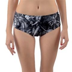 Death And The Devil   Albrecht D¨1rer Reversible Mid Waist Bikini Bottoms