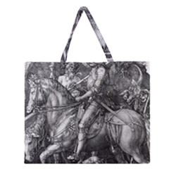 Death And The Devil   Albrecht D¨1rer Zipper Large Tote Bag
