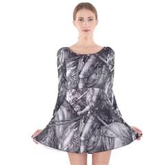Death And The Devil   Albrecht D¨1rer Long Sleeve Velvet Skater Dress