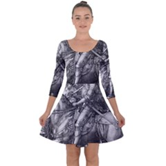 Death And The Devil   Albrecht D¨1rer Quarter Sleeve Skater Dress
