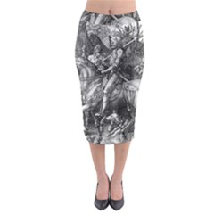 Death And The Devil   Albrecht D¨1rer Midi Pencil Skirt