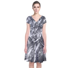 Death And The Devil   Albrecht D¨1rer Short Sleeve Front Wrap Dress