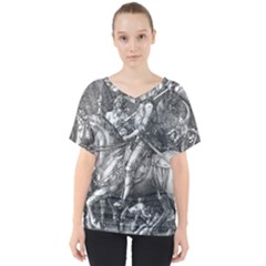 Death And The Devil   Albrecht D¨1rer V Neck Dolman Drape Top