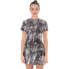 Death And The Devil   Albrecht D¨1rer Drop Hem Mini Chiffon Dress