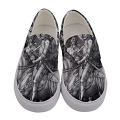 Death And The Devil   Albrecht D¨1rer Women s Canvas Slip Ons