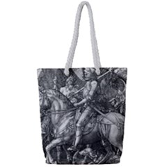 Death And The Devil   Albrecht D¨1rer Full Print Rope Handle Tote (small)