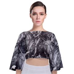 Death And The Devil   Albrecht D¨1rer Tie Back Butterfly Sleeve Chiffon Top